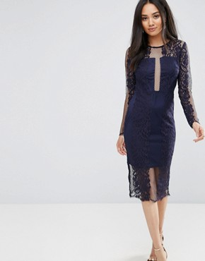 photo Navy Long Sleeve Lace Midi Dress by AX Paris, color Navy - Image 1