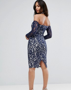 photo Navy Long Sleeved Bardot Midi Dress by AX Paris, color Navy/Cream - Image 2