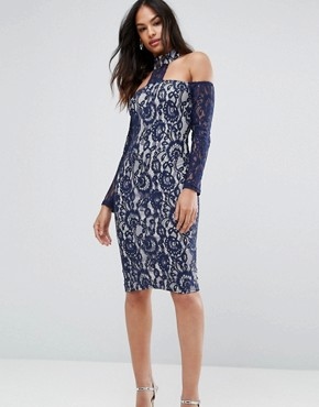 photo Navy Long Sleeved Bardot Midi Dress by AX Paris, color Navy/Cream - Image 1
