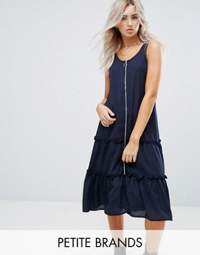photo Ruffle Hem Dress with Zip Detail by Noisy May Petite, color Navy - Image 1