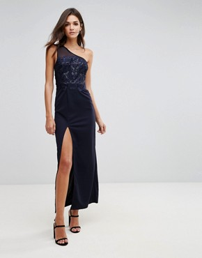 photo Navy Sequin Maxi Dress with Thigh High Split by AX Paris, color Navy - Image 1