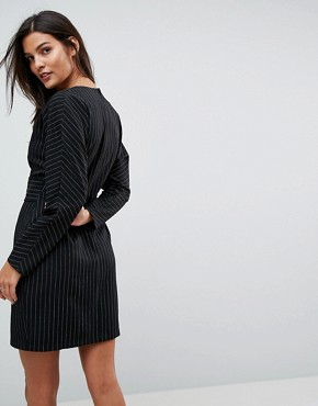 photo Stripe Mini 80's Dress with Metal Belt by ASOS, color Multi - Image 2