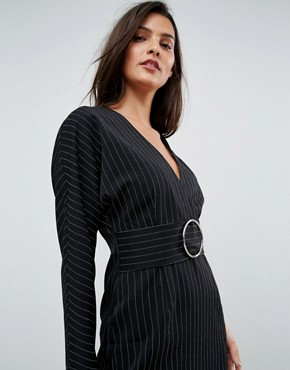 photo Stripe Mini 80's Dress with Metal Belt by ASOS, color Multi - Image 3
