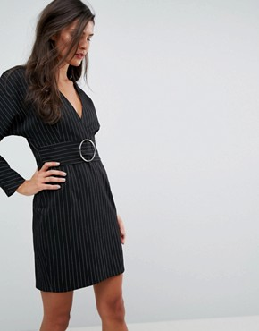 photo Stripe Mini 80's Dress with Metal Belt by ASOS, color Multi - Image 1