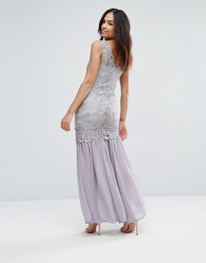 photo Grey Crochet Chiffon Maxi Dress by AX Paris, color Grey - Image 2