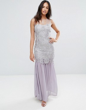 photo Grey Crochet Chiffon Maxi Dress by AX Paris, color Grey - Image 1