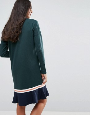 photo Frill Hem Sweater Dress by Noisy May Tall, color Green Gables - Image 2