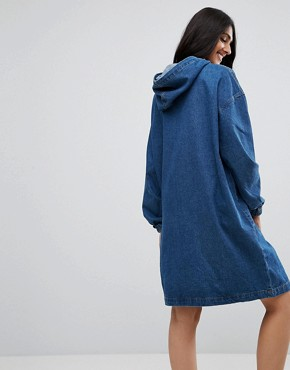 photo Denim Hooded Dress by Noisy May Tall, color Medium Blue Denim - Image 2