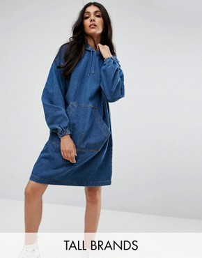 photo Denim Hooded Dress by Noisy May Tall, color Medium Blue Denim - Image 1