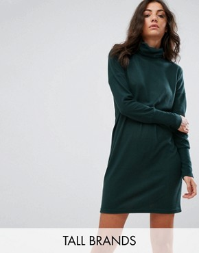 photo High Neck Jumper Dress by Noisy May Tall, color Green - Image 1