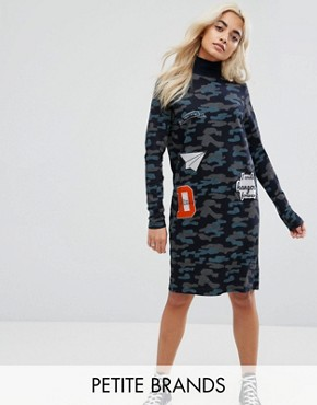 photo Camo Dress with Patches by Noisy May Petite, color Navy - Image 1