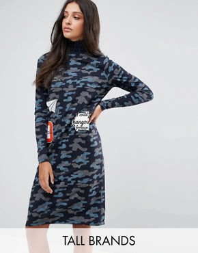 photo Camo Printed Badge Dress by Noisy May Tall, color Navy Blazer - Image 1