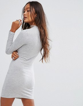photo Ruched Bodycon Dress by Noisy May, color Light Grey Melange - Image 2