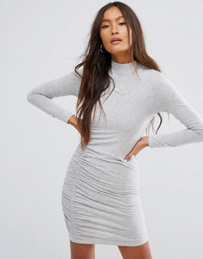photo Ruched Bodycon Dress by Noisy May, color Light Grey Melange - Image 1