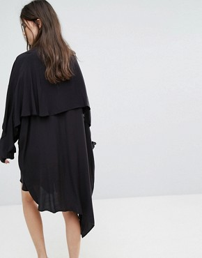 photo Shirt Dress with Asymmetric Hem by Weekday, color Black - Image 2