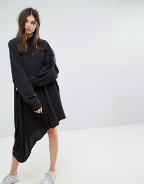 photo Shirt Dress with Asymmetric Hem by Weekday, color Black - Image 1