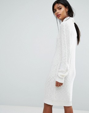 photo Cable Knit Jumper Dress by Vila, color White - Image 2
