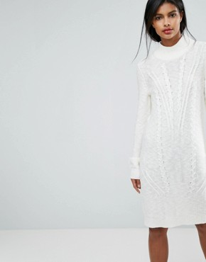 photo Cable Knit Jumper Dress by Vila, color White - Image 1