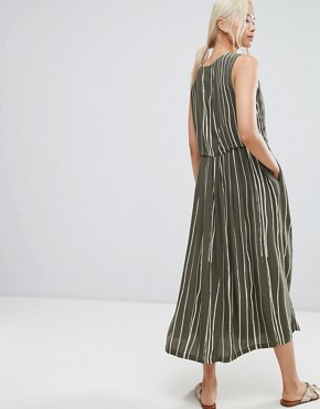 photo Striped Dress by Selected, color Green White Stripe - Image 2