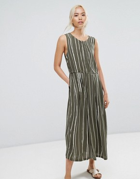 photo Striped Dress by Selected, color Green White Stripe - Image 1