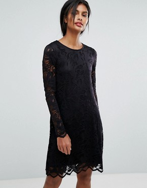 photo Lace Shift Dress by Vila, color Black - Image 1