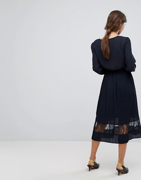 photo Pleated Hem Midi Dress by Vila, color Dark Navy - Image 2
