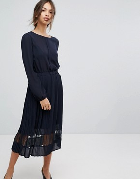 photo Pleated Hem Midi Dress by Vila, color Dark Navy - Image 1