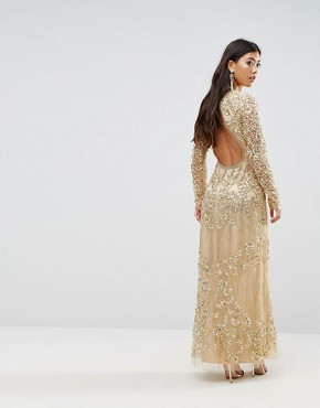 photo Embellished Baroque Maxi Dress with Front Split by A Star Is Born Petite, color Gold - Image 2