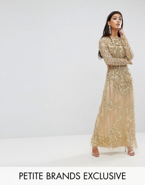 photo Embellished Baroque Maxi Dress with Front Split by A Star Is Born Petite, color Gold - Image 1