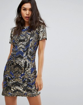 photo Embellished Shift Dress in Zig Zag Pattern by Starlet, color Cobalt - Image 1