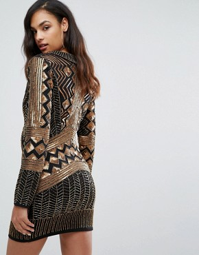 photo Wrap Front Embellished Mini Dress with Long Sleeves by Starlet, color Black/Gold - Image 2