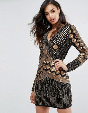 photo Wrap Front Embellished Mini Dress with Long Sleeves by Starlet, color Black/Gold - Image 1