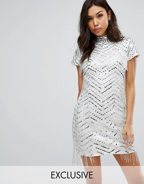 photo Pencil Dress with Fringe Embellishment by Starlet, color Silver - Image 1