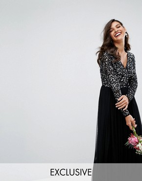 photo Plunge Front Long Sleeve Maxi Dress in Tonal Delicate Sequin and Tulle Skirt by Maya, color Black - Image 1
