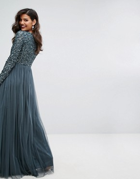 photo Plunge Front Long Sleeve Maxi Dress in Tonal Delicate Sequin and Tulle Skirt by Maya, color Petrol Blue - Image 2
