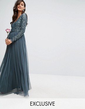 photo Plunge Front Long Sleeve Maxi Dress in Tonal Delicate Sequin and Tulle Skirt by Maya, color Petrol Blue - Image 1