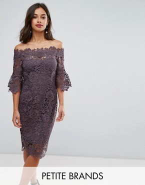 photo Off Shoulder Crochet dress with Frill Sleeve by Paper Dolls Petite, color Charcoal - Image 1