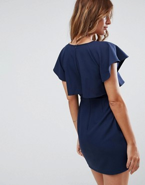 photo Double Layer Mini Wiggle Dress with Angel Sleeve by ASOS, color Navy - Image 2