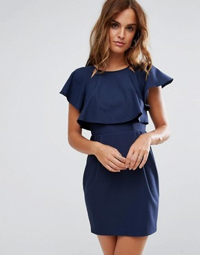 photo Double Layer Mini Wiggle Dress with Angel Sleeve by ASOS, color Navy - Image 1