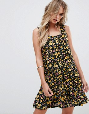 photo Floral Print Fluted Hem Dress by Mango, color Yellow - Image 1
