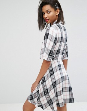 photo Check Shirt Dress by Mango, color Multi Check - Image 2