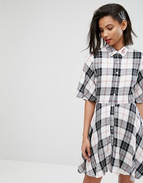 photo Check Shirt Dress by Mango, color Multi Check - Image 1