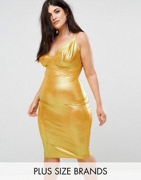 photo Cami Strap Midi Bodycon Dress by Club L Plus, color Ochre - Image 1
