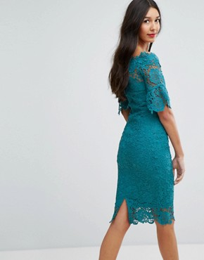 photo Off Shoulder Crochet Dress with Frill Sleeve by Paper Dolls Tall, color Jade Green - Image 2