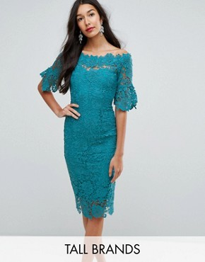 photo Off Shoulder Crochet Dress with Frill Sleeve by Paper Dolls Tall, color Jade Green - Image 1