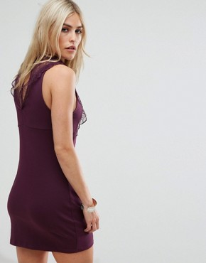 photo Beaumont Muse Lace Detail Dress by Free People, color Plum - Image 2