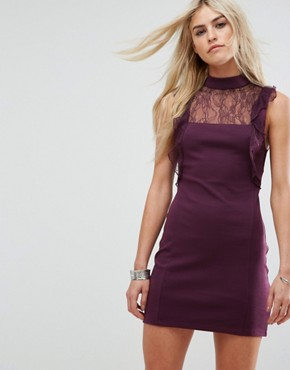 photo Beaumont Muse Lace Detail Dress by Free People, color Plum - Image 1