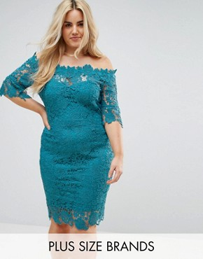 photo Off Shoulder Crochet Dress with Frill Sleeve by Paper Dolls Plus, color Jade Green - Image 1