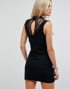 photo Beaumont Muse Lace Detail Dress by Free People, color Black - Image 2