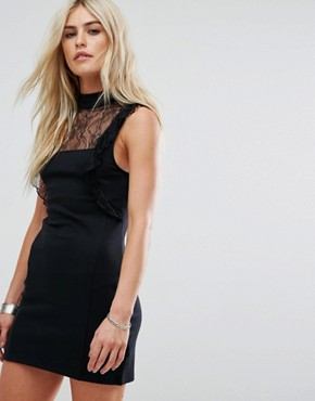 photo Beaumont Muse Lace Detail Dress by Free People, color Black - Image 1